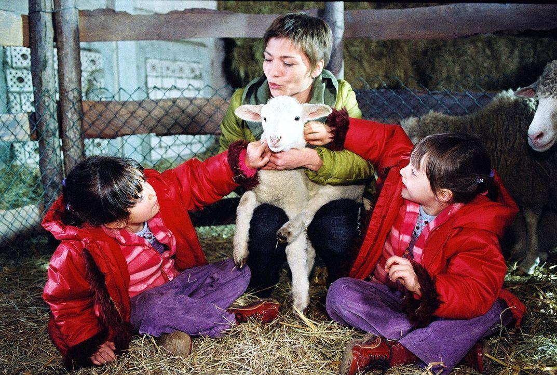 Schwester Stephanie (Claudia Schmutzler, M.) verbringt das Wochenende mit den Zwillingen Julia Elke (Lisa Willschütz, r.) und Klara Sofia (Hanna Lui... - Bildquelle: Noreen Flynn Sat.1