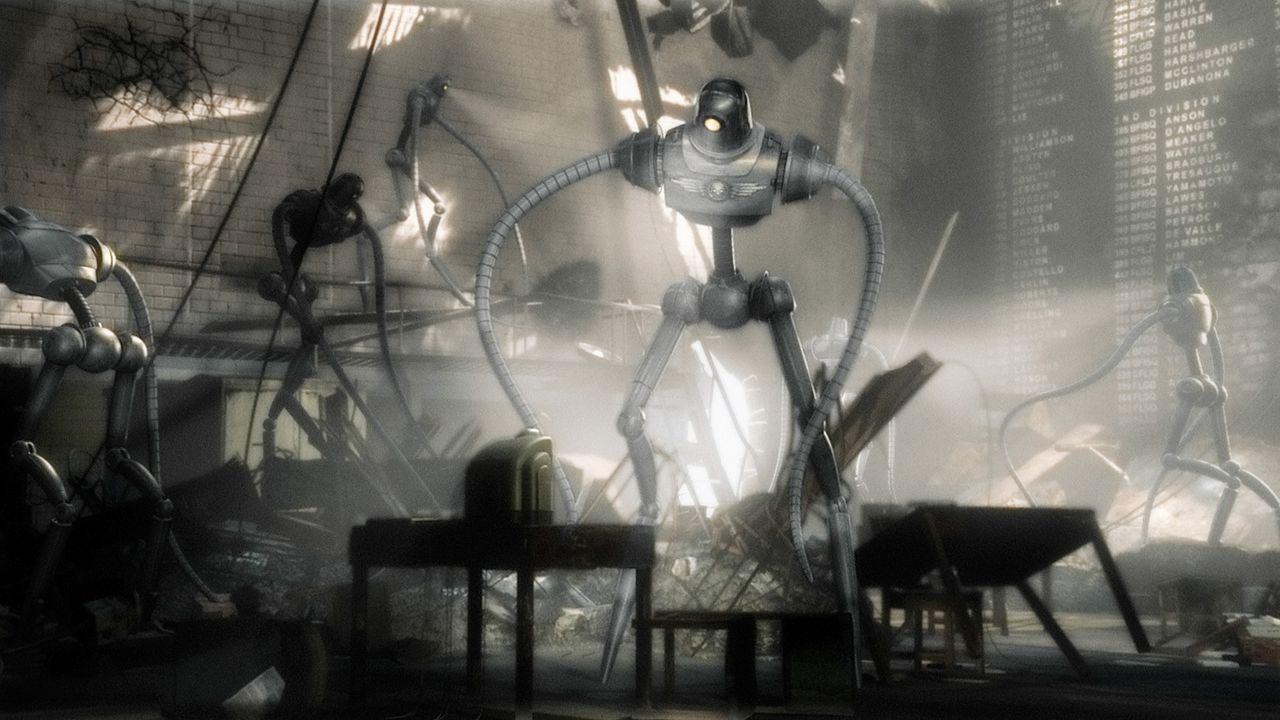 In letzter Minute gelingt es Sky Captain, Polly vor den mörderischen Robotern des berüchtigten Dr. Totenkopf (Laurence Olivier), der die Weltherrs... - Bildquelle: TM & Copyright   Brooklyn Films II And Filmauro S.R.L.