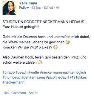 Facebook-Post über Neckermann-Wette