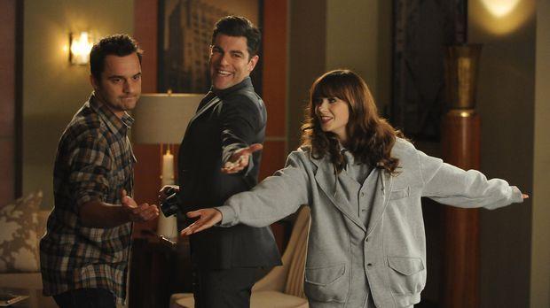 Jess (Zooey Deschanel, r.) möchte Nick (Jake Johnson, l.) und Schmidt (Max Gr...