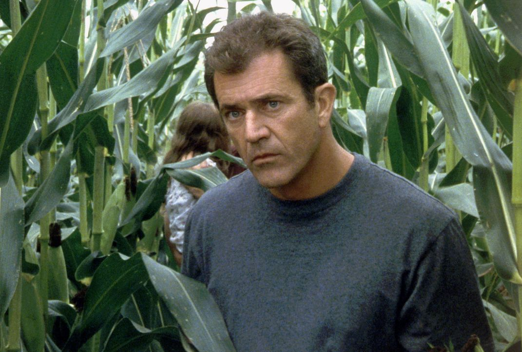 """Eines Tages erscheinen ,,Zeichen"""", Getreidekreise, in Grahams (Mel Gibson) Kornfeldern. Kurz darauf ertönen Klopfgeräusche hinter einer Mauer und sc... - Bildquelle: Touchstone Pictures"""