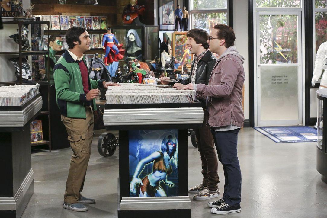 Als ihnen Sheldon zu sehr auf die Nerven geht, beschließen Raj (Kunal Nayyar, l.), Howard (Simon Helberg, 2.v.r.) und Leonard (Johnny Galecki, r.) o... - Bildquelle: 2015 Warner Brothers