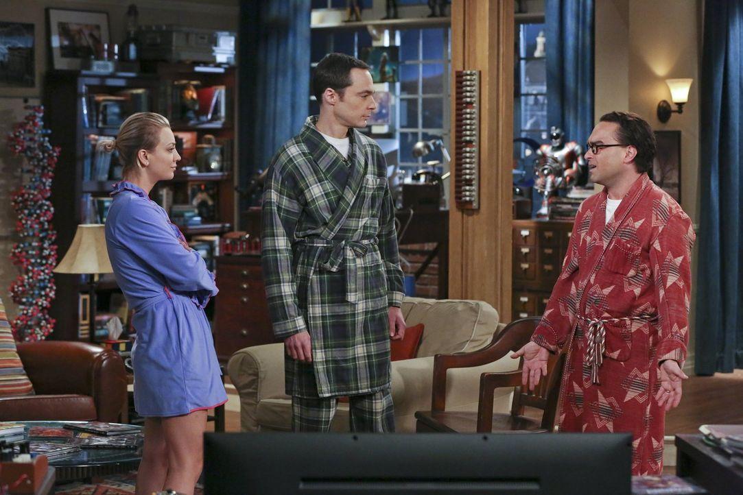Seine gescheiterte Ein-Tages-Ehe mit Penny (Kaley Cuoco, l.) macht Leonard (Johnny Galecki, r.) so sehr zu schaffen, dass er seltsame Träume von ein... - Bildquelle: 2015 Warner Brothers