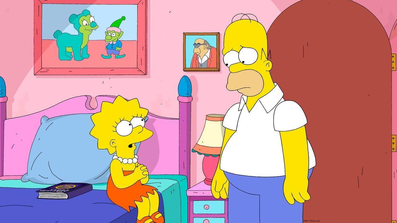 Für Homer (r.) war seine Tochter Lisa (l.) immer seine kleine Prinzessin, für die er alles getan hätte. Doch inzwischen spielt sie lieber mit ihren... - Bildquelle: 2013 Twentieth Century Fox Film Corporation. All rights reserved.