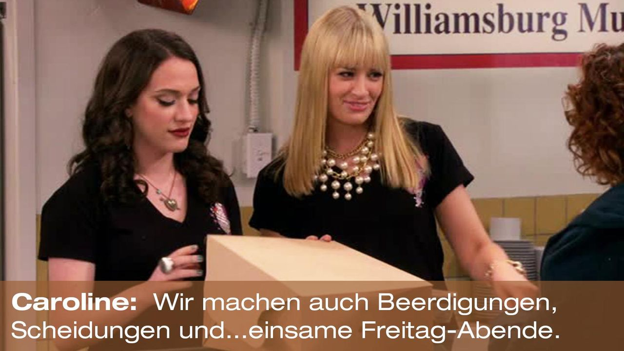 2-broke-girls-zitat-quote-staffel2-episode12-breite-weihnachten-caroline-freitage-warnerpng 1600 x 900 - Bildquelle: Warner Bros. International Television