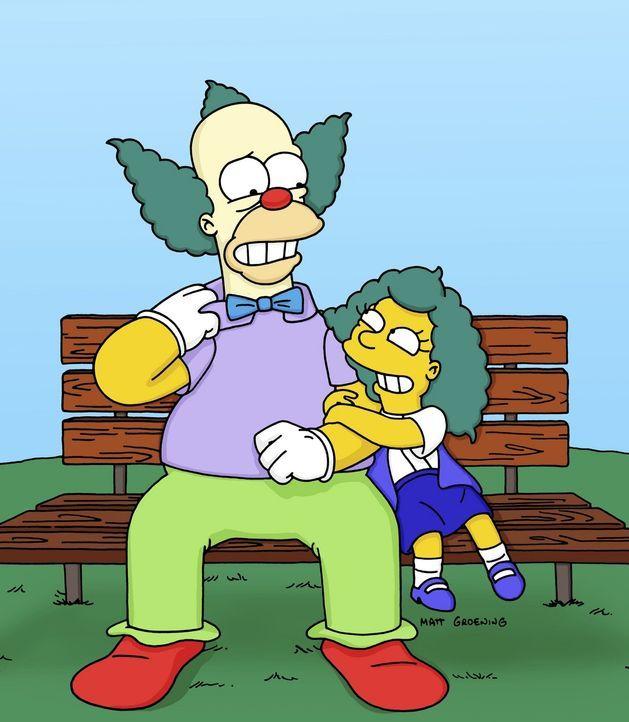 Krusty (l.) hat erst vor kurzem erfahren, dass Sophie (r.) seine Tochter ist. Er versucht, sich mit ihr anzufreunden. - Bildquelle: TM +   2000 Twentieth Century Fox Film Corporation. All Rights Reserved.