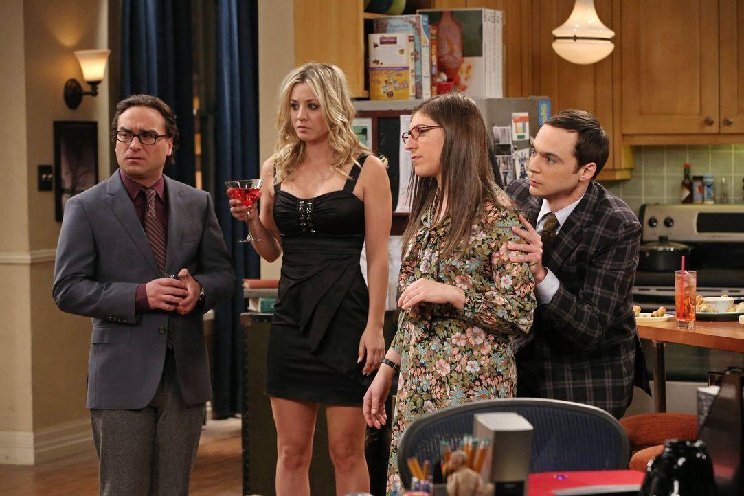 Eine ganz besondere Party wartet auf Sheldon (Jim Parsons, r.), Leonard (Johnny Galecki, l.), Penny (Kaley Cuoco, 2.v.l.) und Amy (Mayim Bialik, 2.v... - Bildquelle: Warner Bros. Television