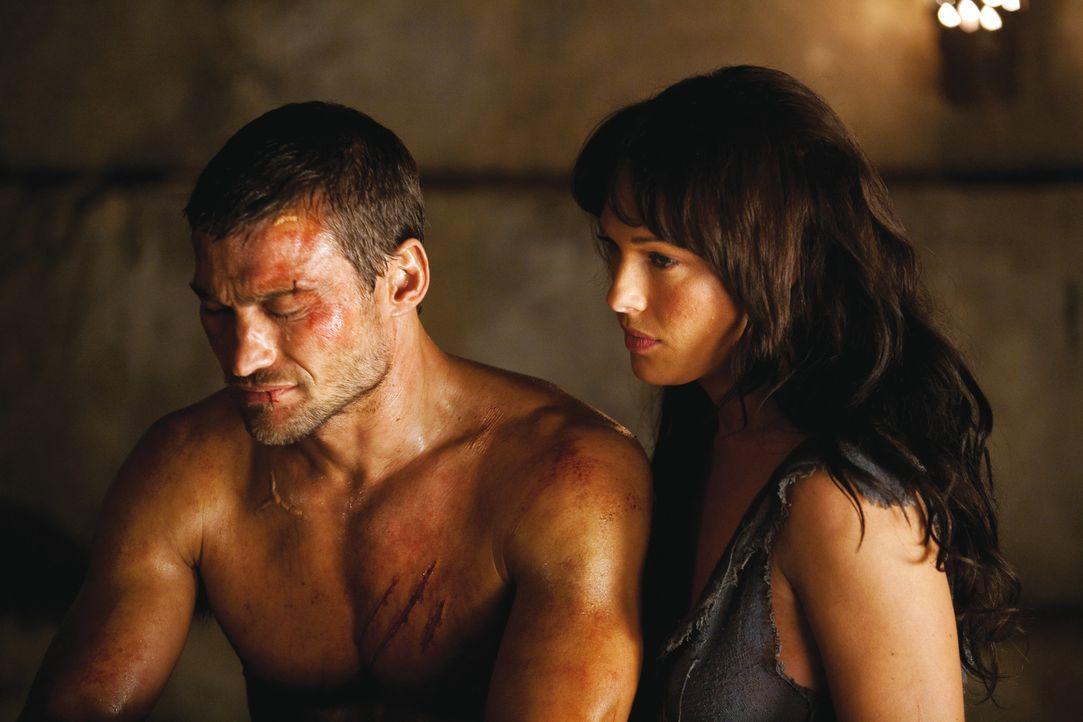 Spartacus (Andy Whitfield, l.) träumt nach wie vor davon, seine Frau Sura (Erin Cummings, r.) wieder wohlbehalten in den Armen halten zu können. U... - Bildquelle: 2010 Starz Entertainment, LLC