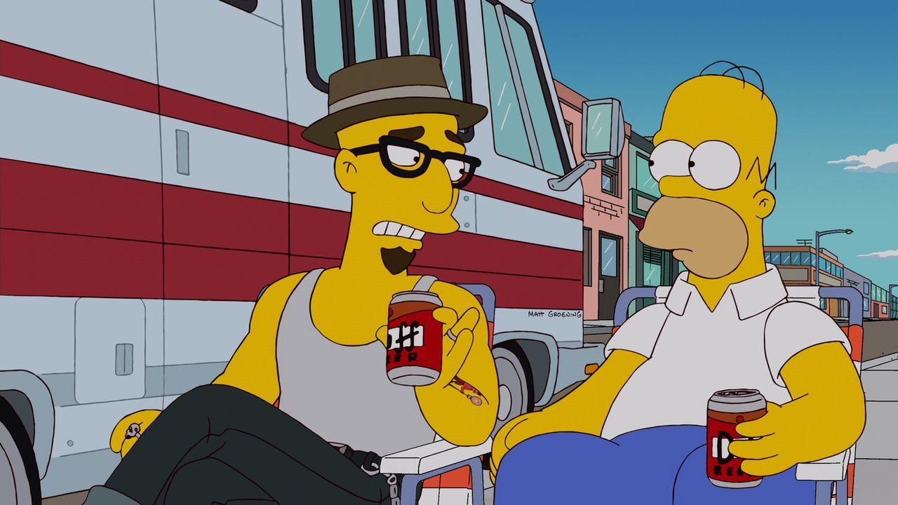 Als Homer (r.) den fahrenden Donut-Händler Terence (l.) kennenlernt, verändert das sein Leben ... - Bildquelle: und TM Twentieth Century Fox Film Corporation - Alle Rechte vorbehalten