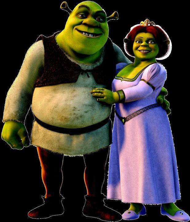 Die überglücklichen Frischverheirateten Shrek, l. und Fiona, r. haben keine Ahnung, dass ihre Hochzeit alle Zukunftspläne ihres Vaters vereitelt hab... - Bildquelle: DreamWorks SKG