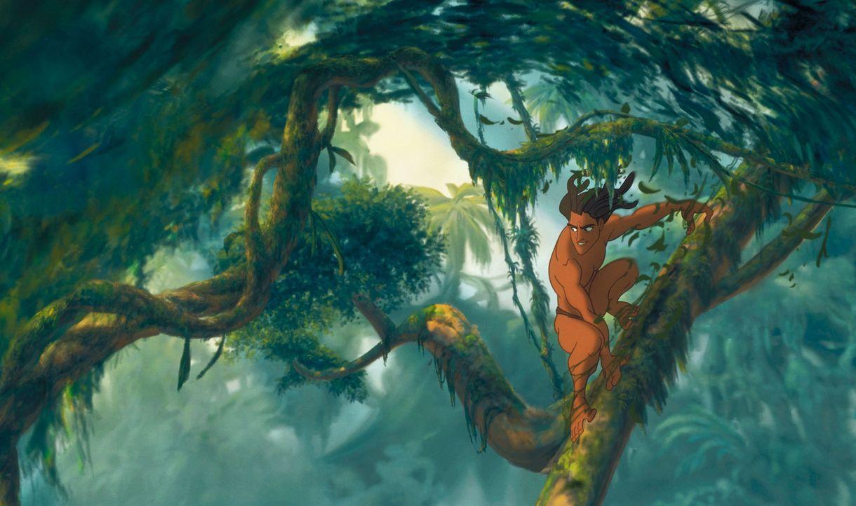 Eines Tages findet die Gorilladame Kala mitten im Dschungel ein verwaistes Menschenkind und nimmt das Baby an sich, obwohl der Anführer der Gorillab... - Bildquelle: Edgar Rice Burroughs Inc. and Disney