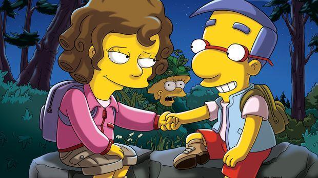 Milhouse (r.) wird erneut von Lisa (M.) abgelehnt und freundet sich stattdess...