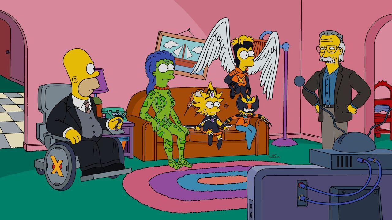 Sind wie die X-Men immer wieder für eine Überraschung gut: Die Simpsons (v.l.n.r.: Homer, Marge, Lisa, Bart und Maggie) und Comic-Autor Stan Lee ... - Bildquelle: 2016-2017 Fox and its related entities. All rights reserved.