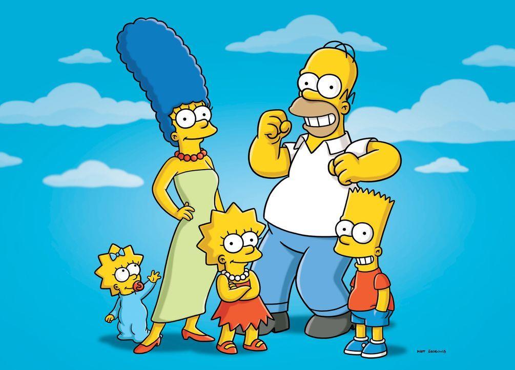 (22. Staffel) - Eine nicht alltägliche Familie: Marge (2.v.l.), Maggie (l.), Bart (r.), Lisa (M.) und Homer Simpson (2.v.r.) ... - Bildquelle: und TM Twentieth Century Fox Film Corporation - Alle Rechte vorbehalten