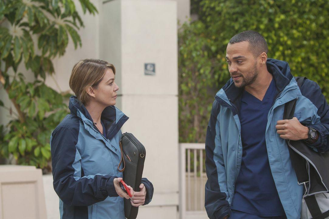 Gemeinsam fahren Meredith (Ellen Pompeo, l.), Bailey, Jackson (Jesse Williams, r.), Callie und Jo zu einem Militärkrankenhaus, um eine riskante Oper... - Bildquelle: Ron Batzdorff ABC Studios