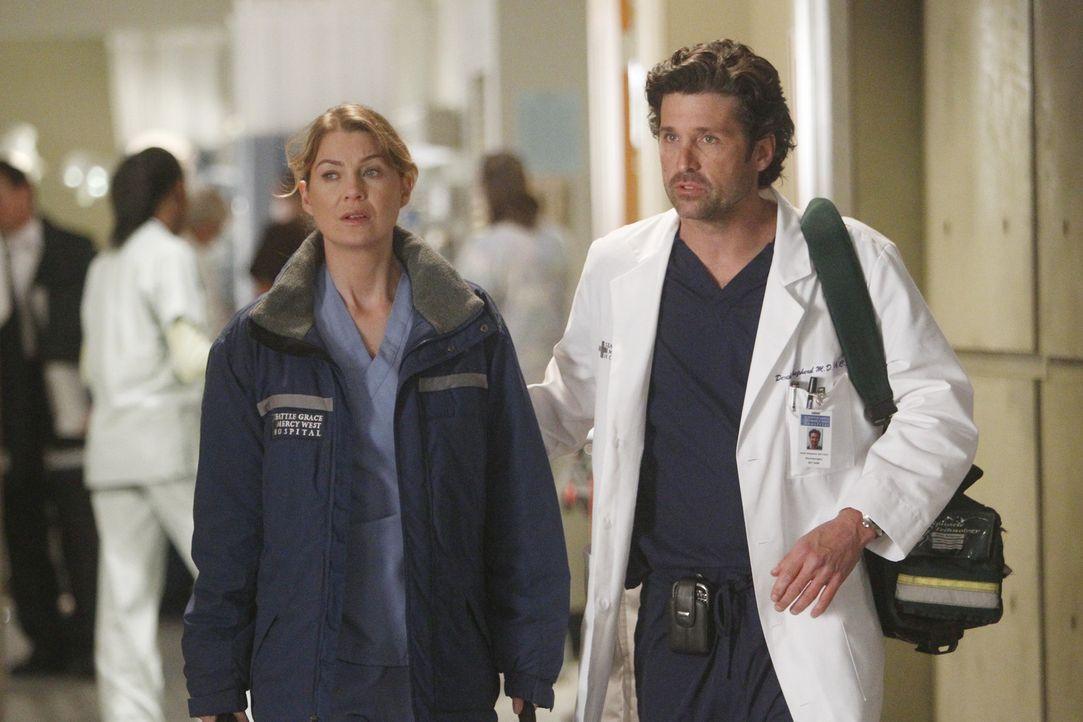 Während Meredith (Ellen Pompeo, l.) und Derek (Patrick Dempsey, r.) endlich Nachricht wegen Zola erhalten, muss Teddy das Leben ihres Ehemanns in d... - Bildquelle: ABC Studios