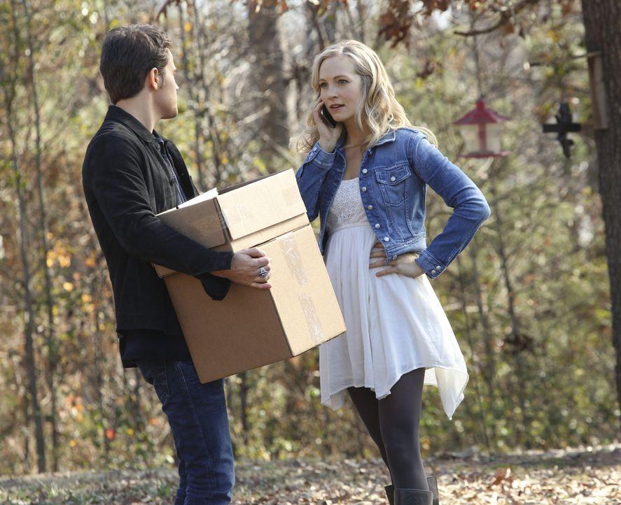 Stefan hilft Caroline, die Forbes-Hütte für ihre Mutter vorzubereiten - Bildquelle: Warner Bros. Entertainment Inc.