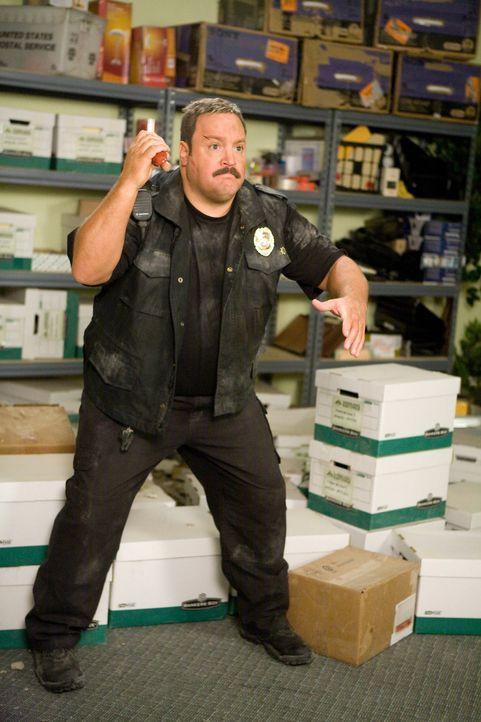 Nimmt den Kampf mit den Gangstern auf: der Kaufhaus Cop Paul Blart (Kevin James) ... - Bildquelle: 2009 Columbia Pictures Industries, Inc. and Beverly Blvd LLC. All Rights Reserved.