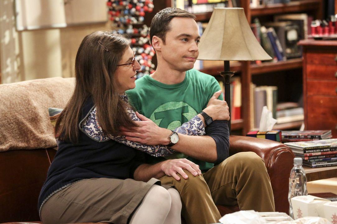 Amy (Mayim Bialik, l.) und Sheldon (Jim Parsons, r.) werden für fünf Wochen im gleichen Bett schlafen müssen: Ohoh ... - Bildquelle: 2016 Warner Brothers