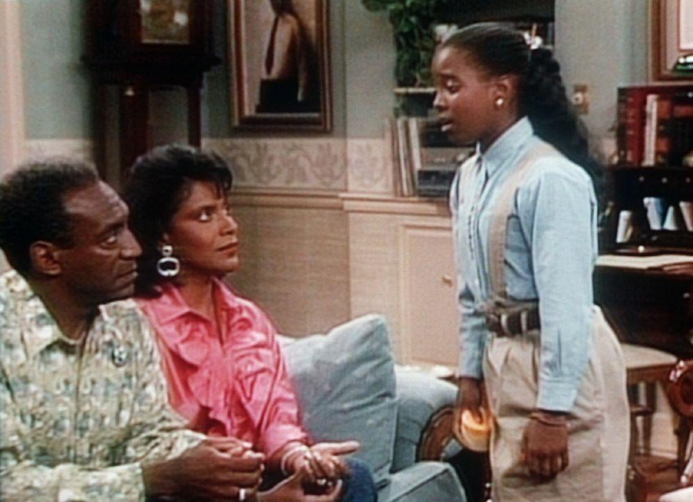 Rudy (Keshia Knight Pulliam, r.) bittet Cliff (Bill Cosby, l.) und Clair (Phylicia Rashad, M.) um Erlaubnis, zwei Tage nicht zur Schule gehen zu dü... - Bildquelle: Viacom