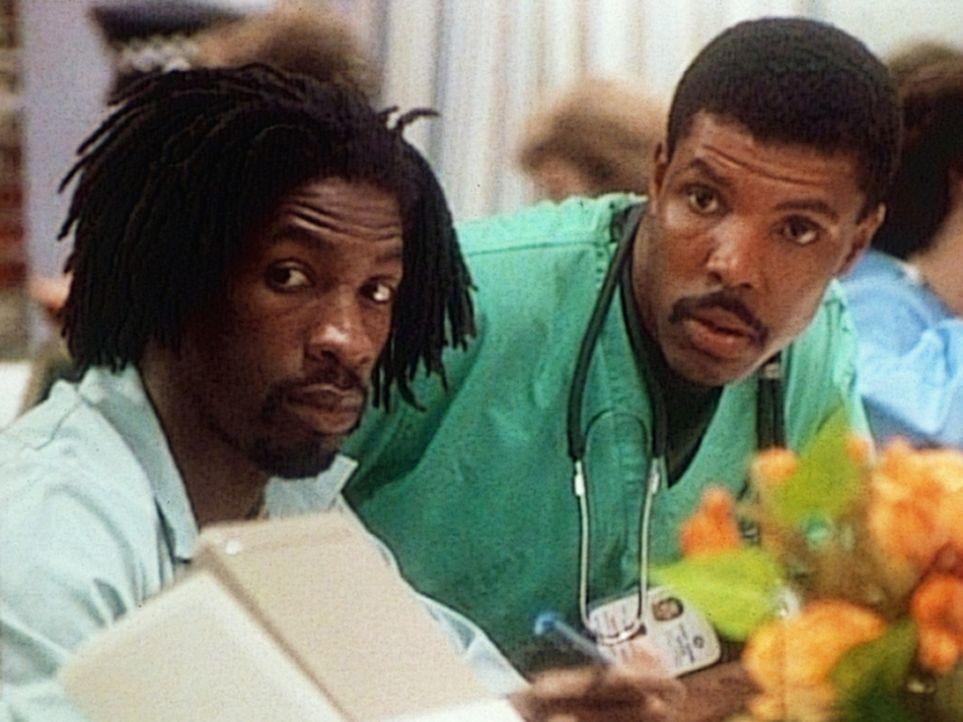Timmy (Glenn Plummer, l.) erwartet zusammen mit Dr. Benton (Eric LaSalle, r.) den nächsten Notfall. - Bildquelle: TM+  WARNER BROS.