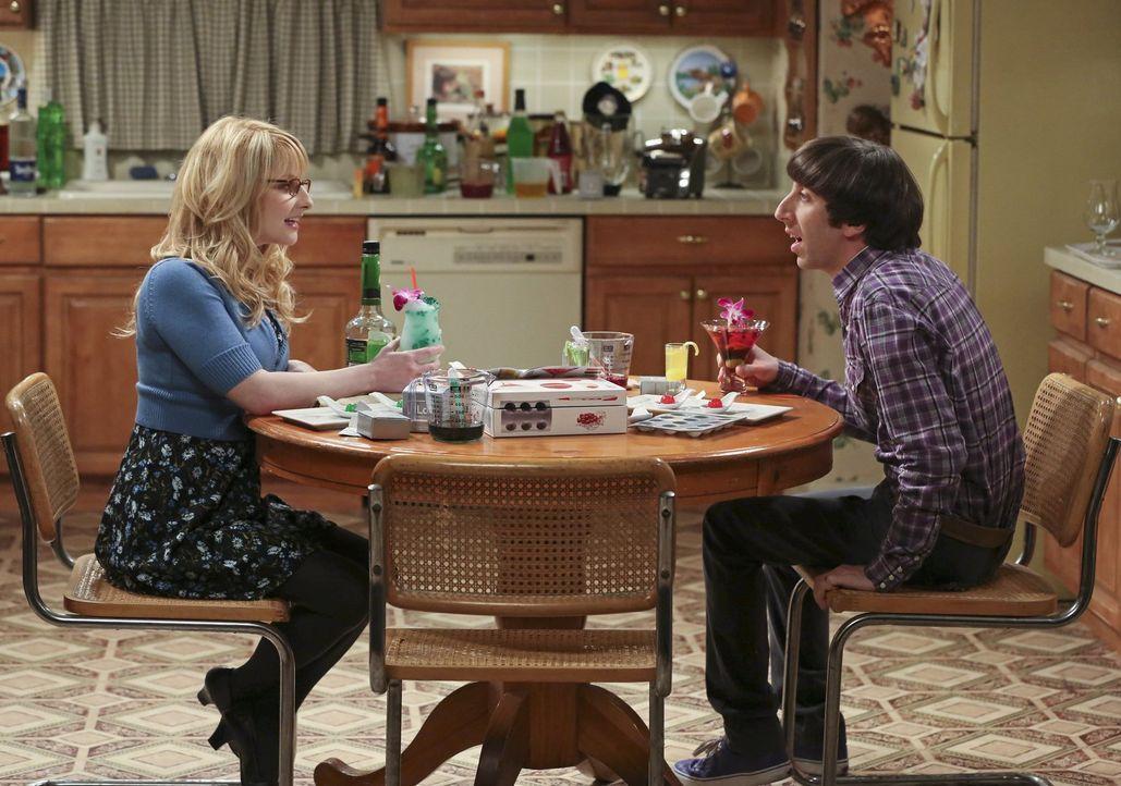 Während Raj mit Leonard an der Aliennachricht weiterarbeitet, versuchen sich Howard (Simon Helberg, r.) und Bernadette (Melissa Rauch, l.) an etwas... - Bildquelle: Warner Bros. Television