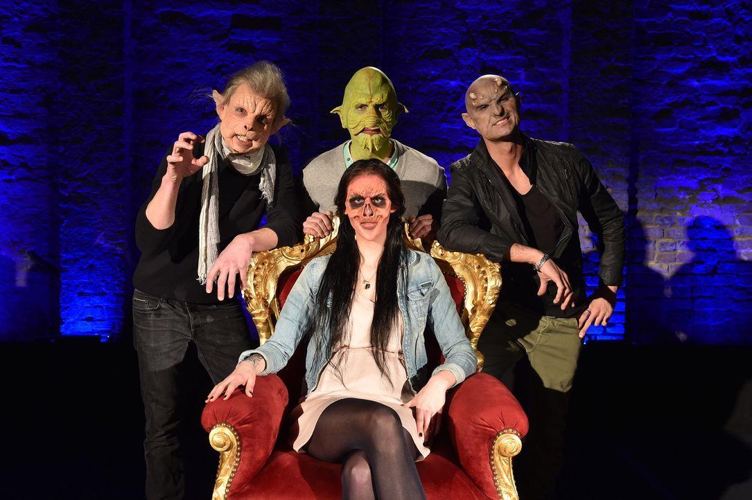 Für wen wird sich Vanessa (vorne) entscheiden? Inger (l.), Habib (M.) und Donald (r.) wagen sich auf ein Date mit dem Zombiemädchen ... - Bildquelle: Andre Kowalski Sixx