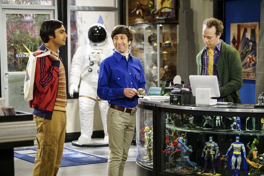 Howard (Simon Helberg, M.) erzählt seinen Freunden Stuart (Kevin Sussman, l.) und Raj (Kunal Nayyar, l.) voller Vorfreude von seinem anstehenden Url... - Bildquelle: 2016 Warner Brothers
