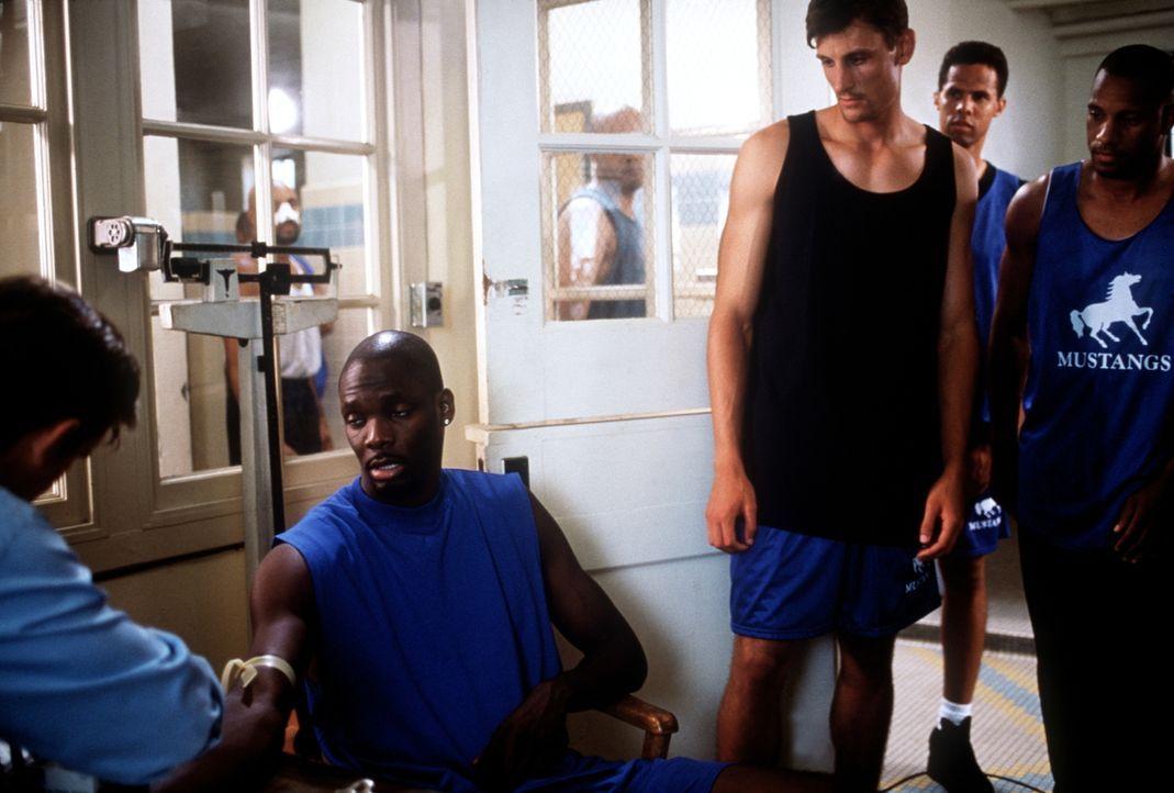 Die Basketballer Conway (Lorenzo Newton, 2.v.l.) und Brent (Brent Barry, 3.v.l.) müssen sich einem Dopingtest unterziehen, der von Dr. Jesse Travis... - Bildquelle: Viacom