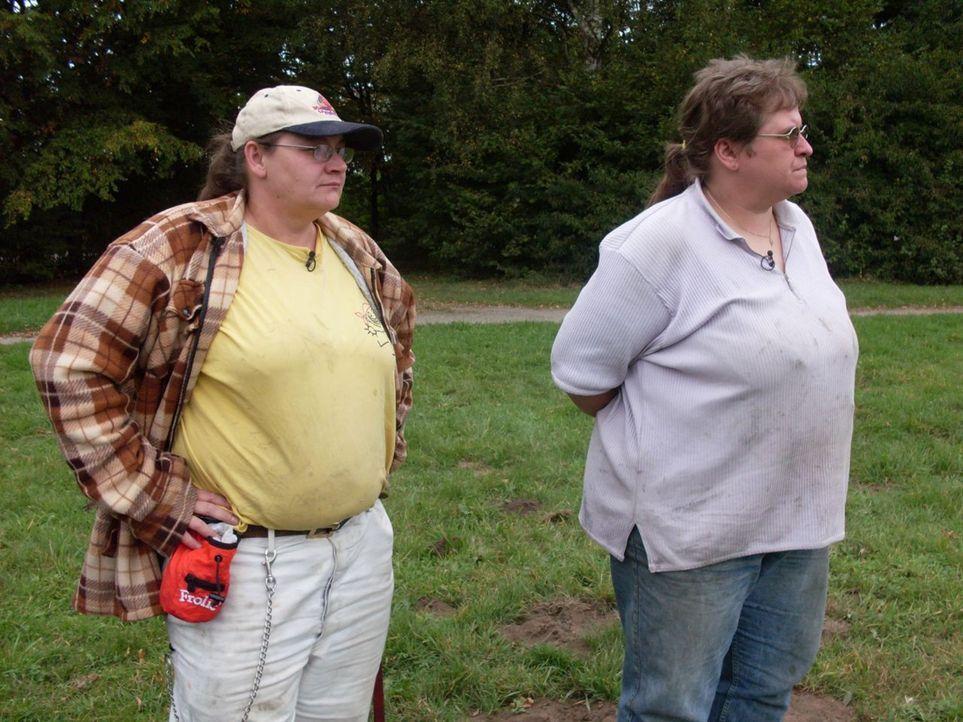 Zusammen bringen sie 260 Kilo auf die Waage: Ute und Sabine Stimmer aus Gelsenkirchen. Seit über acht Jahren mischen die Ladys das Schrottgeschäft... - Bildquelle: Sat.1
