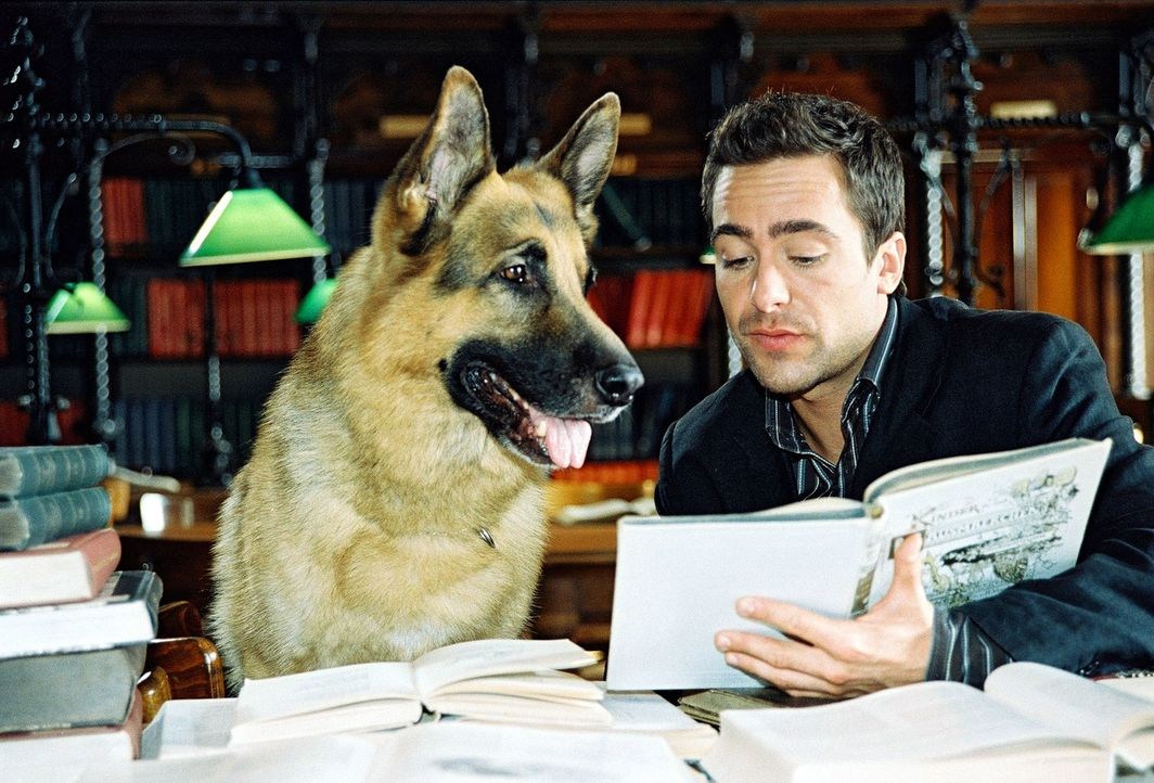 Marc (Alexander Pschill) und Rex ziehen in diesem ungewöhnlichen Fall Märchenbücher zu Rate. - Bildquelle: Ali Schafler Sat.1