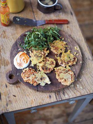 Jamies Super Food: Frühstückspuffer Käse, Schinken, Pilze & Tomate - Reze...