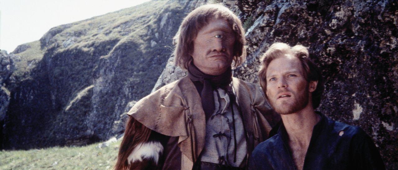 Prinz Colwyn (Ken Marshall, r.) kann den Zyklopen Rell (Bernard Bresslaw, l.) für seine Sache gewinnen ... - Bildquelle: Columbia Pictures