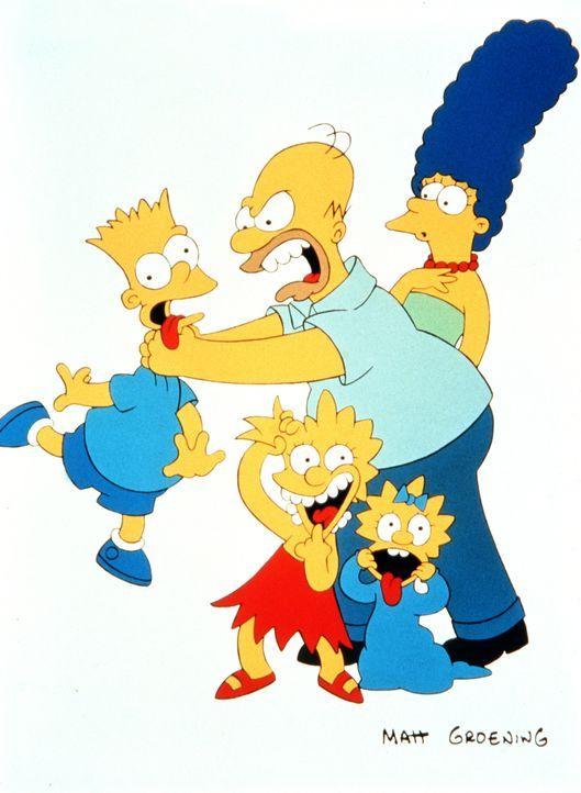 (1. Staffel) - Die Familie Simpson in Aktion: Bart (l.) hat wieder seinem Vater Homer (M.) den letzten Nerv geraubt. Marge (r.), Lisa (2.v.l.) und M... - Bildquelle: und TM Twentieth Century Fox Film Corporation - Alle Rechte vorbehalten