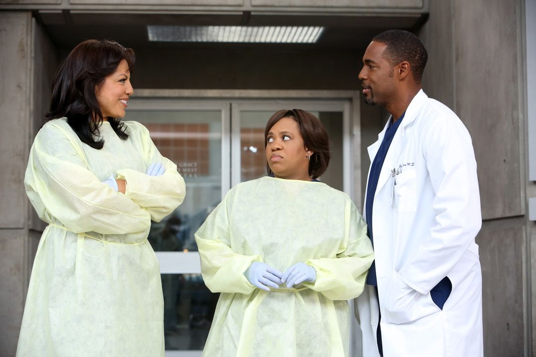 Ahnen noch nicht, was mit Meredith, Derek und den anderen geschehen ist: Callie (Sara Ramirez, l.), Miranda (Chandra Wilson, M.) und Ben (Jason Geor... - Bildquelle: Touchstone Television