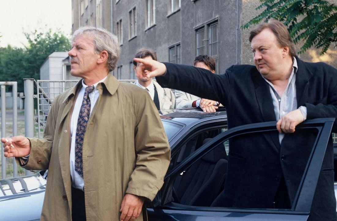 Kriminalrat Rote (Peter Striebeck, l.) und Hauptkommissar Paule Pietsch (Dieter Pfaff, r.) stehen unter Druck und müssen Fahndungserfolge präsentier... - Bildquelle: Ronald Siemoneit Sat.1
