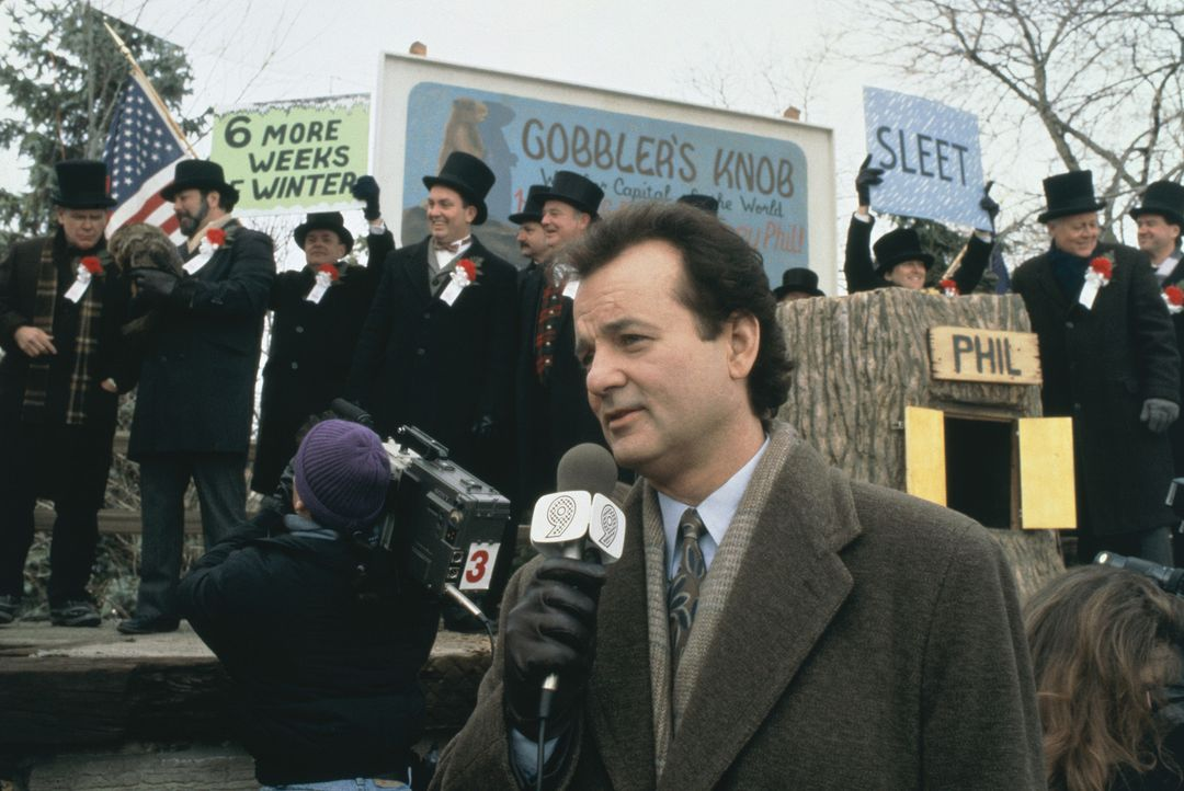 """Der zynische Fernseh-Wetterfrosch Phil (Bill Murray, M.) berichtet über den traditionellen """"Murmeltiertag"""" aus dem kleinen Städtchen Punxutawney ... - Bildquelle: Columbia TriStar"""