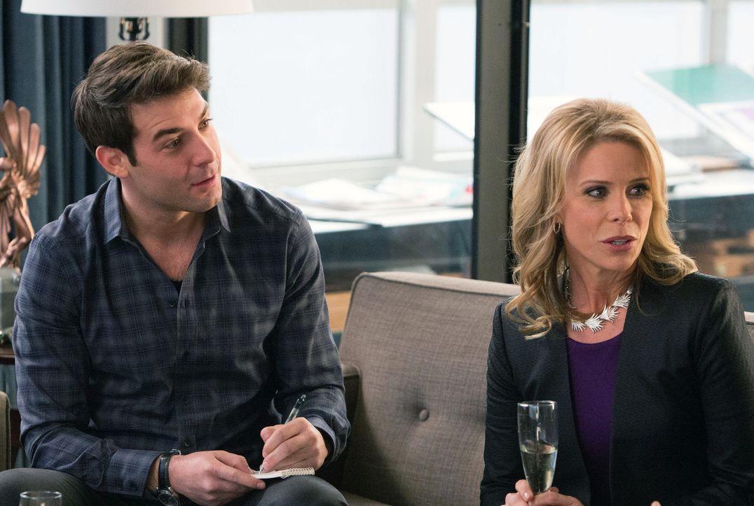 Simon bietet seiner Klientin Beth Minker (Cheryl Hines, r.) an, dass Zach (James Wolk, l.) die Bar-Mitzwa-Feier ihres Sohnes ausrichtet, um sie für... - Bildquelle: 2013 Twentieth Century Fox Film Corporation. All rights reserved.