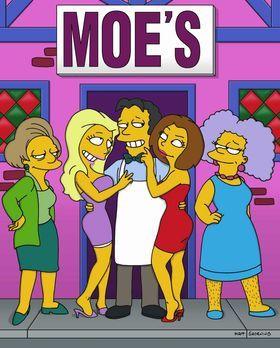 Die Simpsons - Nach seiner Schönheitsoperation wird Moe (M.) von den Damen um...