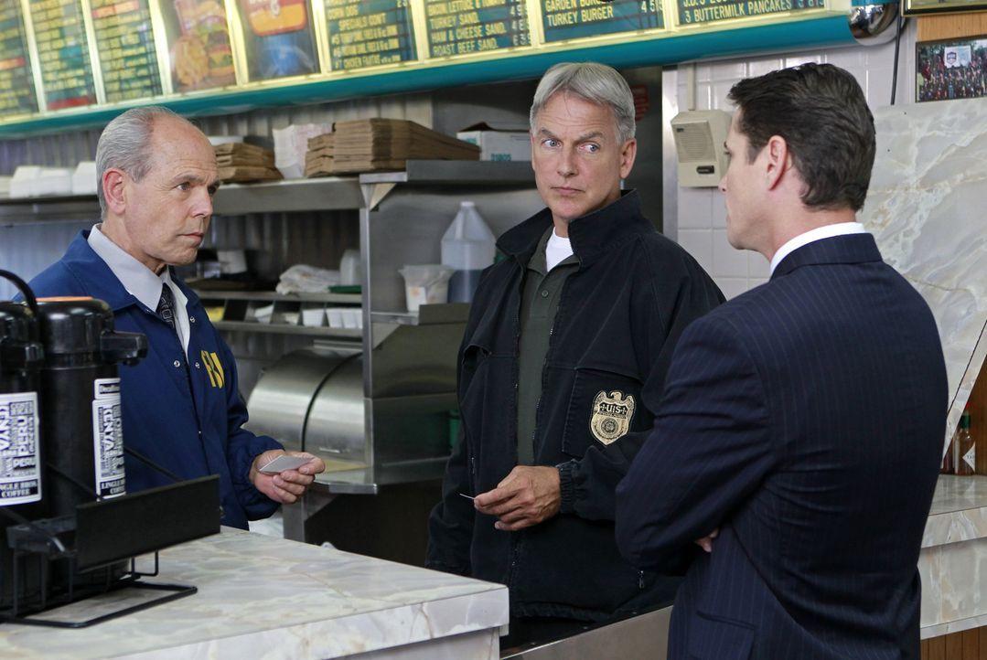 Diane Sterling, Ex-Frau von Gibbs (Mark Harmon, M.) und Fornell (Joe Spano, l.), bittet die beiden um Hilfe, denn Ehemann Nummer drei ist verschwund... - Bildquelle: CBS Television