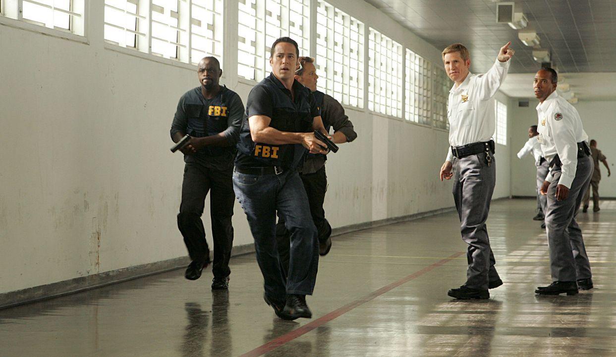 Don (Rob Morrow, 2.v.l.), David (Alimi Ballard, l.) und Colby (Dylan Bruno, 3.v.l.)  versuchen die Verbrecher zu stellen ... - Bildquelle: Paramount Network Television