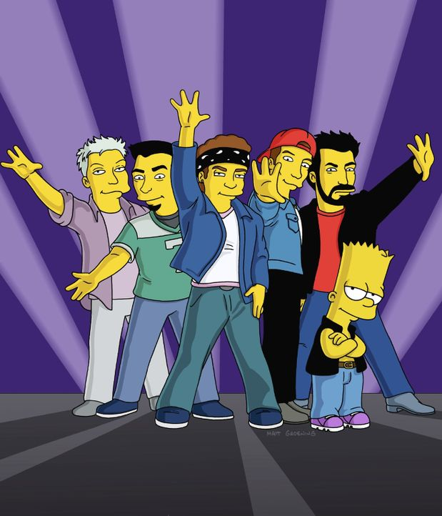 Bart Simpson (r.) mit der Boygroup 'N' Sync. - Bildquelle: TM +   2000 Twentieth Century Fox Film Corporation. All Rights Reserved.