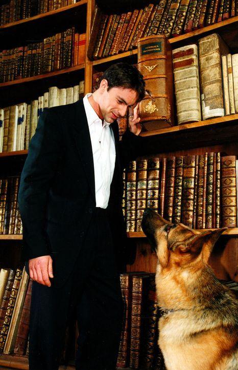 Kommissar Brandtner (Gedeon Burkhard, l.) gibt Rex in der Österreichischen Nationalbibliothek Suchanweisungen. - Bildquelle: Ali Schafler Sat.1