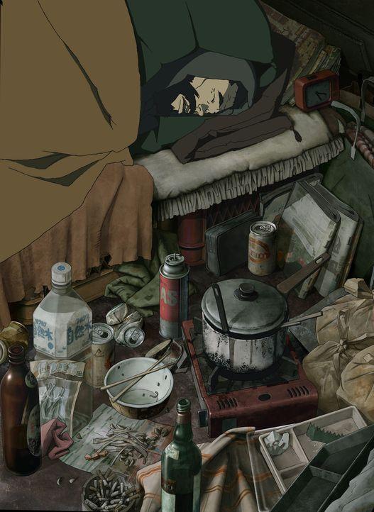 Ex-Rennfahrer Gin lebt seit vielen Jahren auf der Straße. Obwohl er seiner Familie, ganz besonders seiner Tochter, nachtrauert, wagt er es nicht, wi... - Bildquelle: 2003 Satoshi Kon, Mad House and Tokyo Godfathers Committee. All Rights Reserved.