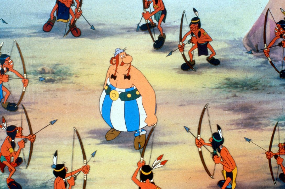 Die Römer haben auf Cäsars Befehl den Druiden Miraculix entführt. Er soll am Ende der Welt über den Rand der Erdscheibe gestoßen werden. Als Asterix... - Bildquelle: Jugendfilm-Verleih GmbH