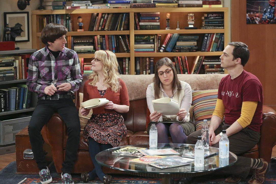 Howard (Simon Helberg, l.), Bernadette (Melissa Rauch, 2.v.l.), Amy (Mayim Bialik, 2.v.r.) und Sheldon (Jim Parsons, r.) diskutieren über den Vertra... - Bildquelle: 2016 Warner Brothers