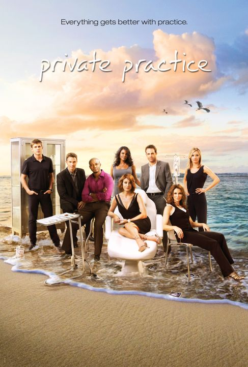(3. Staffel) - Private Practice: William Dell Parker (Chris Lowell, l.), Dr. Charlotte King (KaDee Strickland, r.), Dr. Violet Turner (Amy Brenneman... - Bildquelle: ABC Studios