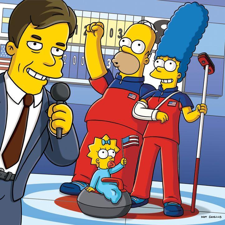 Olympische Winterspiele 2010 in Vancouver: Bob Costas (l.), Homer (hinten M.), Marge (r.) und Maggie (vorne M.) ... - Bildquelle: und TM Twentieth Century Fox Film Corporation - Alle Rechte vorbehalten