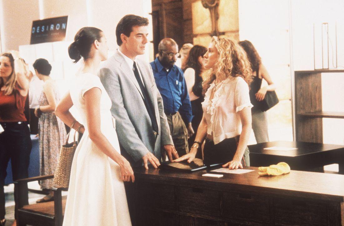 Auf einer Möbelausstellung steht Carrie (Sarah Jessica Parker, r.) plötzlich Big (Chris Noth, M.) und dessen Ehefrau Natasha (Bridget Moynahan, l.... - Bildquelle: Paramount Pictures