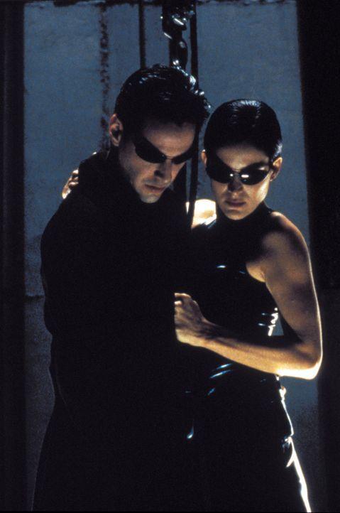 Neo (Keanu Reeves, l.) und Trinity (Carrie Anne Moss, r.) müssen sich durch ein schwer bewachtes Hochhaus kämpfen, um Morpheus zu befreien. Ihr We... - Bildquelle: Warner Bros. Pictures